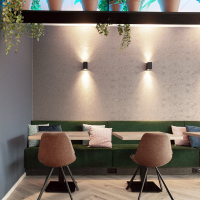 kunstplanten in terra cotta potten voor bedrijfsrestaurant